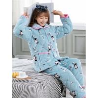睡衣女士秋冬季三层加厚珊瑚绒法兰绒夹棉韩版保暖家居服