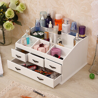 新品梳妆台桌面木质化妆品收纳盒 大号抽屉式护肤储物箱木制首饰品盒