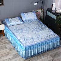 冰丝凉席三件套 夏季床裙款冰丝席1.5米1.8m床可折叠凉席蚕丝席子 富贵牡丹蓝 可拆卸床裙