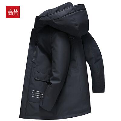 【1件3折到手价:432元】高梵2019冬季新款中长款羽绒服男工装休闲连帽保暖90白鸭绒厚外套