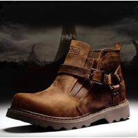 男士短靴潮高帮男鞋 男靴子英伦马丁靴 男皮靴工装军靴