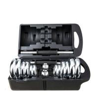 2018新款 1对电镀哑铃男士20公斤 健身器材家用运动哑铃套装礼盒