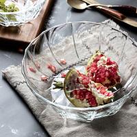 水晶玻璃水果盘现代时尚创意欧式客厅茶几家用大号糖果盘三件套 2个装