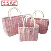 粉色编织 手提篮购物篮买菜篮鸡蛋篮洗浴篮 大中小
