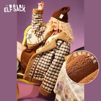 【叠券更优惠】妖精的口袋仿羊羔毛复古格子棉衣女冬季长袖宽松外套