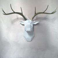 美式复古白色鹿头壁饰现代仿真动物头装饰品创意家居餐厅玄关挂件