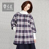 红莲初春新款复古七分袖格子毛衣圆领宽松单排扣羊毛针织衫外套女
