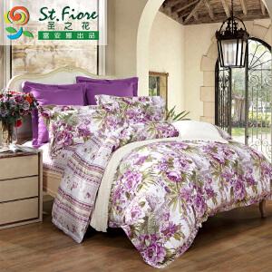 [当当自营]富安娜家纺纯棉四件套1.5米1.8米床印花套件 印象曼谷 紫色 1.8m
