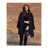 毛呢外套秋冬新款韩版女反季显瘦加厚矮小个子百搭呢子大衣女 黑色