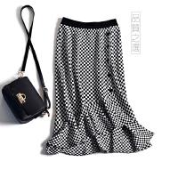 高腰鱼尾裙 方格半身裙 格子纽扣包臀裙 荷叶边针织包裙子女 图片色