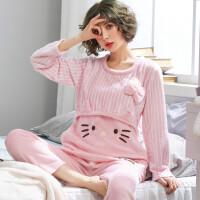 秋冬季法兰绒月子服产后长袖孕妇哺乳睡衣珊瑚绒加厚保暖喂奶套装