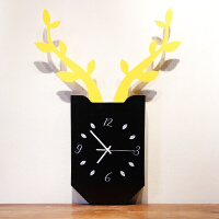 粉红少女心INS北欧创意鹿挂钟 客厅卧室静音时钟木质方形挂表现代春节礼物情人节礼物
