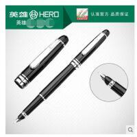 英雄钢笔77黑丽雅银夹铱金钢商务书写练字墨水笔