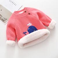 2018新款男童毛衣女童加绒加厚儿童针织打底线衫宝宝婴儿保暖套头