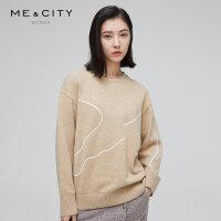 【1件5折价:274.5,可叠券】绵羊毛MECITY女装冬季商务休闲宽松设计感长袖毛针织衫女