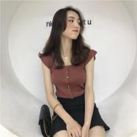 夏季新款韩版chic风性感小清新短款吊带背心纯色打底衫露肩上衣女