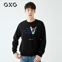 【新款】GXG男装 2021春季潮流字母黑色圆领套头卫衣男GY131561A