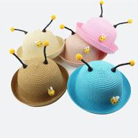 女童草帽宝宝帽子可爱萌沙滩太阳帽3岁儿童小蜜蜂遮阳帽