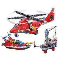 启蒙  益智积木拼插玩具 拼装玩具 拼插模型 飞机海空救援队 905