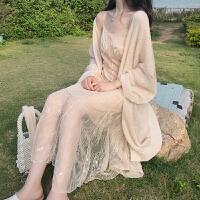 秋装新款蕾丝鱼尾吊带仙女连衣裙+薄款慵懒风防晒针织开衫两件套