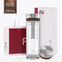 高端FU+刚系列双层玻璃杯带盖过滤泡茶杯便携随手杯水杯子抖音