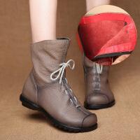 原创秋冬褶皱特色民族风女靴头层低跟舒适骑士靴短靴