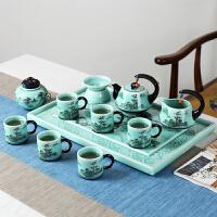 【优选】茶具套装家用手绘青瓷景德镇陶瓷茶盘茶杯茶壶整套礼盒装