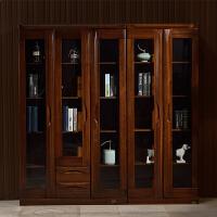 【热卖新品】书柜书架简约现代储物柜子黑胡桃木两门三门中式书房实木家具套装 0.8-1米宽