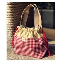 原创日韩风抽绳饭盒袋便当包袋女带饭包可爱加厚帆布手提束口