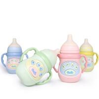 儿童新生儿宝宝安抚奶瓶故事机硅胶奶嘴可咬音乐灯光奶瓶早教机 音乐奶瓶【8857-随机颜色-彩盒】