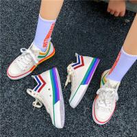 小白鞋女秋款高帮厚底百搭透气彩色鞋子帆布韩版平底潮鞋板鞋