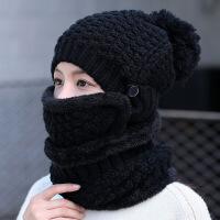 帽子女冬天韩版潮可爱保暖针织帽时尚百搭女士冬季骑车护耳毛线帽 均码有弹性(收