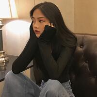 新款性感黑色打底衫女修身交叉深领低胸长袖恤2018初秋上衣韩版 均码