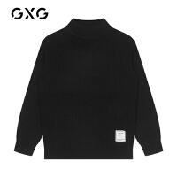 【特价】GXG男装 2021春季中领毛衣男双色针织衫套头上衣绣标毛衫