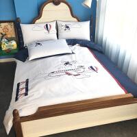 �w�C���棉男孩四件套�和�床上用品三件套卡通�勇�床品�C花套件定制 白色