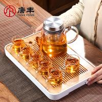 唐丰玻璃功夫茶具整套家用办公过滤泡茶壶竹制茶盘小套组现代简约