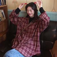 三木子快时尚女装~韩版早春中长款加厚磨毛经典格子长袖衬衫外套