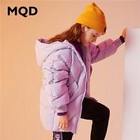 MQD童装女童羽绒服2019冬季新款连帽中长款羽绒服儿童保暖外套潮
