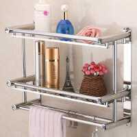 不锈钢双层三层浴室毛巾架卫生间浴巾架免打孔洗手间置物架壁挂件