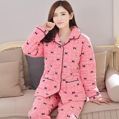 夹棉睡衣女冬季三层加厚长袖棉袄加大码女秋季家居服保暖套装