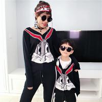 母女装外套亲子装春秋装2018新款潮母子时尚母女创意全家装加厚针织开衫外套MYZQ88 黑色