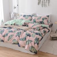 床上四件套床单被套床品冬季全棉纯棉公主风1.8m床简约1.5双人定制 藕色 粉蕉