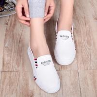 艾米与麦麦2019春季新款一脚蹬帆布鞋女学生低帮平底套脚休闲小白鞋韩版百搭板鞋