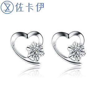 佐卡伊 心语 白18k金钻石耳钉女款结婚耳钉 钻石耳环专柜 定制款