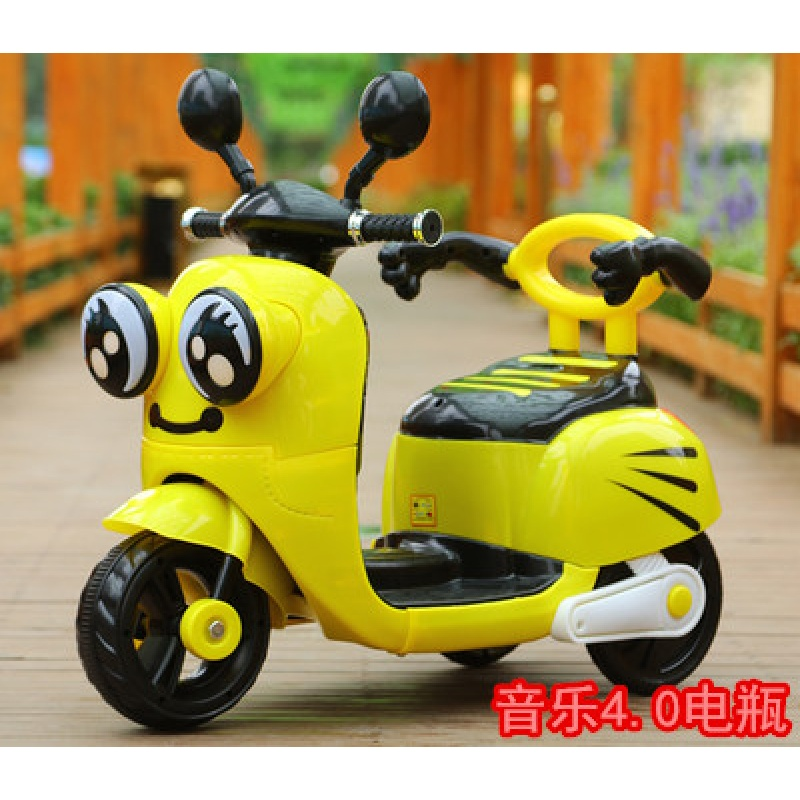 电动脚踏车儿童电动摩托三轮车宝宝小孩可坐人充电玩具车遥控1-2-3-4-5岁QL-78 小蜜蜂音乐款4.0A电瓶 收藏送坐垫