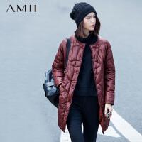 AMII[极简主义]冬新圆领暗扣圆圈裥线修身中长羽绒服11571214
