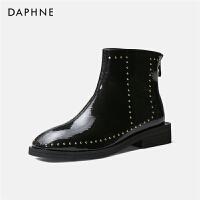 Daphne/达芙妮短靴女2019新款马丁靴黑色方头铆钉百搭时尚英伦风---