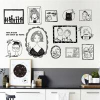 欧式复古相框贴照片墙贴画文艺卧室客厅沙发背景创意装饰品墙贴纸抖音 黑色 特大