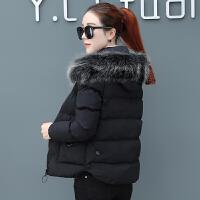 短款棉衣女2018冬季冬装新款毛领小棉袄加厚外套时尚韩版羽绒 M (75~90斤)