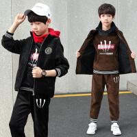 2019新款儿童冬季加绒加厚韩版童装男童秋冬装卫衣三件套装